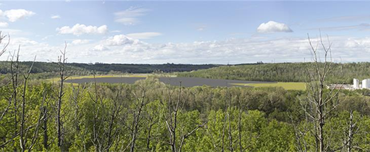 Looking west from recreational trail (located east of project site, across river)